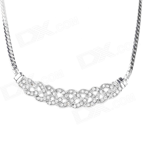 Women's Fashionable Rhinestone Inlaid Zinc Alloy Necklace - Silver