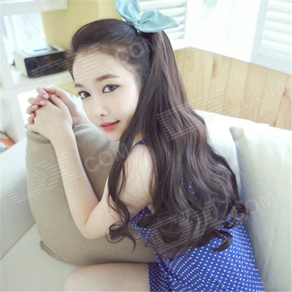 45cm Long Curly Sweet Lolita Ponytail Extension Hairpiece Wig - Dark Brown