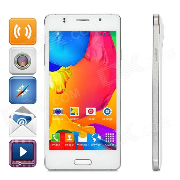 JIAKE JK760 Android 4.4.2 Dual-core WCDMA Phone w/ 5.0, 4GB ROM, WIFi, GPS, BT - White jiake f1w 5 0inch capacitive touch screen mtk6572 dual core 1 2ghz smartphone 512mb 4gb 2 0mp 0 3mp android 4 2 os 3g gps with protective case black