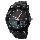 SKMEI 1049 50m Waterproof Solar Double Movement Double Time Shows Men's Sport Watch - Black