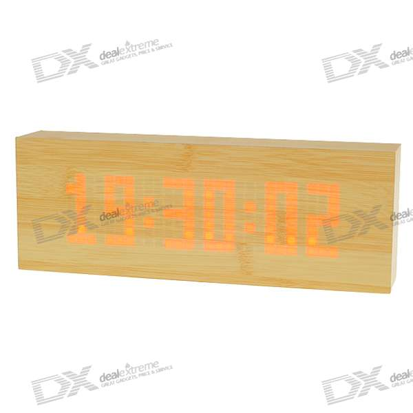 Customizable Text Dot-Matrix Red LED Scrolling Message Display Calendar Alarm Clock (AC/4*AA)