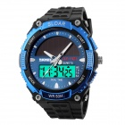 SKMEI 1049 50m Waterproof Solar Dual-Movement Dual-Time Zone Men's Sport Watch - Black + Blue