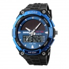 SKMEI 1049 50m Waterproof Solar Dual-Movimento Dual-Time Zona Men Sport Watch - preto + azul