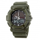 SKMEI Men's Solar Charging Dual Display Digital Sports Watch w/ Backlight - Army Green (1 x CR2016)