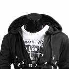 NT00061-1 masculine contractée impression Design Hooded Sweater Casual - noir (L)