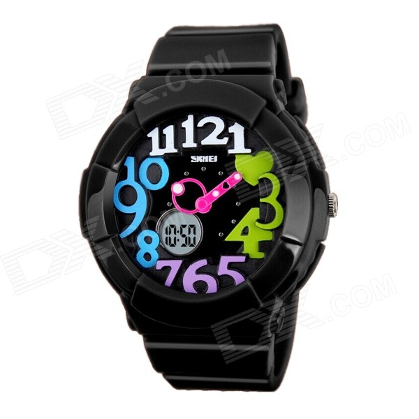 SKMEI 1020 Kid's Waterproof Analog + Digital Wrist Watch - Black + White + Multicolor (1 x CR2016)