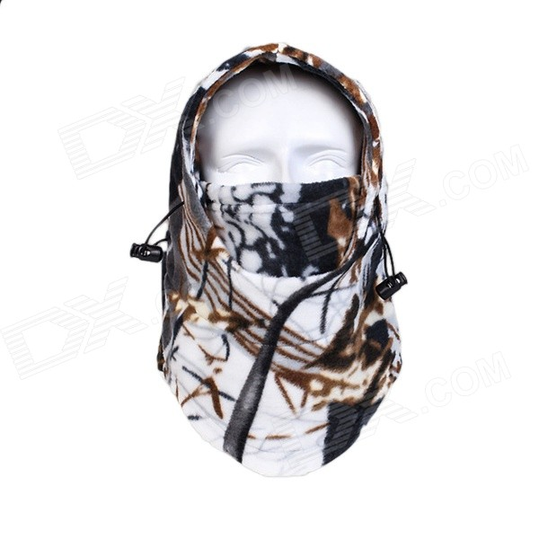 RZ-013 Men's Patterned Fleece Outdoor Headwear Cap Face Mask - Camouflage + White жаровня scovo сд 013 discovery