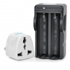 2-in-1 US Plug 2-Slot 18650 Li-ion Battery Charger w/ EU Plug Adapter - Black