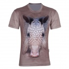 XINGLONG Men's 3D Printing Animal Motifs Short Sleeve T-shirt - Light Brown + Multicolor (Size XXL)
