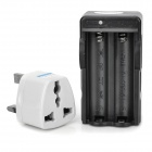 2-in-1 US Plug 2-Slot 18650 Li-ion Battery Charger w/ UK Plug Adapter - Black