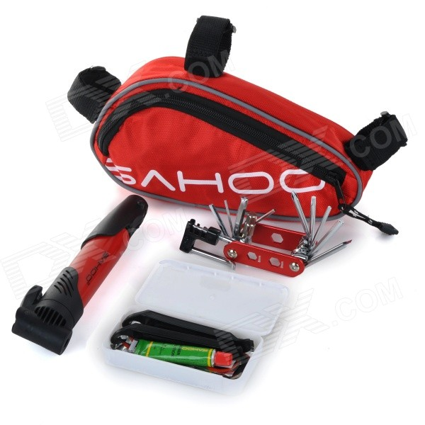 SAHOO 21255 Bike Mounted Bag + Inflator Pump + Tire Repair Toolkit + Multi-Functional Tool Set - Red pump repair kit db pg0261 for linx 4900 printer