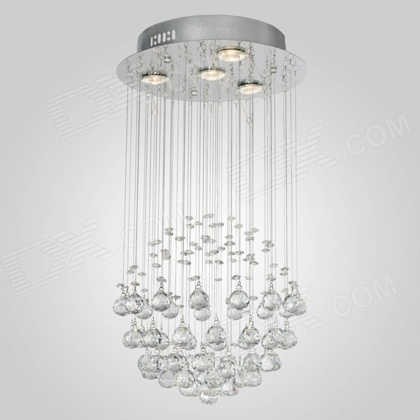 35W 200lm 3000K 4-Light Crystal Chandelier Ceiling Lamp - Silver + White (AC 220~240V)