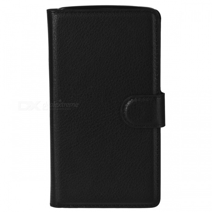 Flip-Open PU Leather + ABS Case w/ Stand / Card Slots for Motorola Droid Turbo XT1254 - Black