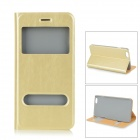 Flip-Open PU Case w/ Stand / Dual View Windows / Auto Sleep for IPHONE 6 PLUS - Champagne Gold