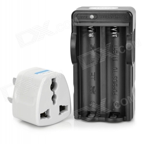 все цены на  2-in-1 US Plug 2-Slot 18650 Li-ion Battery Charger w/ 3-Flat-Pin Plug Adapter - Black  онлайн