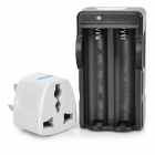 2-in-1 US Plug 2-Slot 18650 Li-ion Battery Charger w/ 3-Flat-Pin Plug Adapter - Black