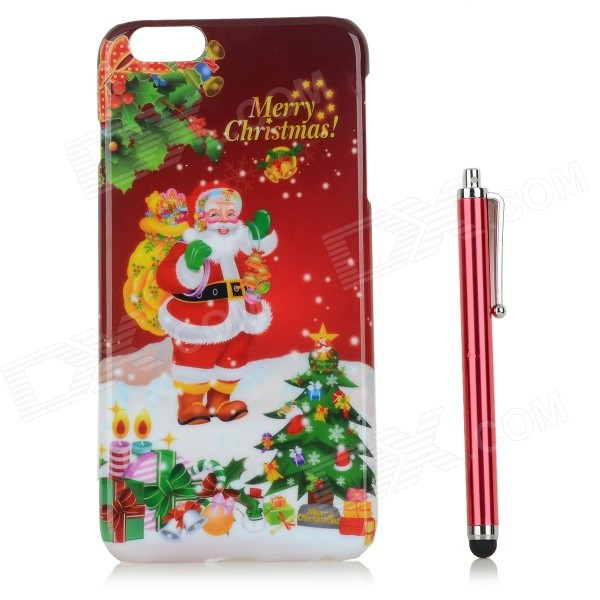 Santa Claus / Christmas Gift Patterned PC Back Case Cover w/ Stylus Pen for IPHONE 6 PLUS - Red santa claus christmas gift printed decorative pillow case