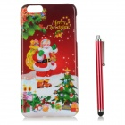 Santa Claus / Christmas Gift Patterned PC Back Case Cover w/ Stylus Pen for IPHONE 6 PLUS - Red