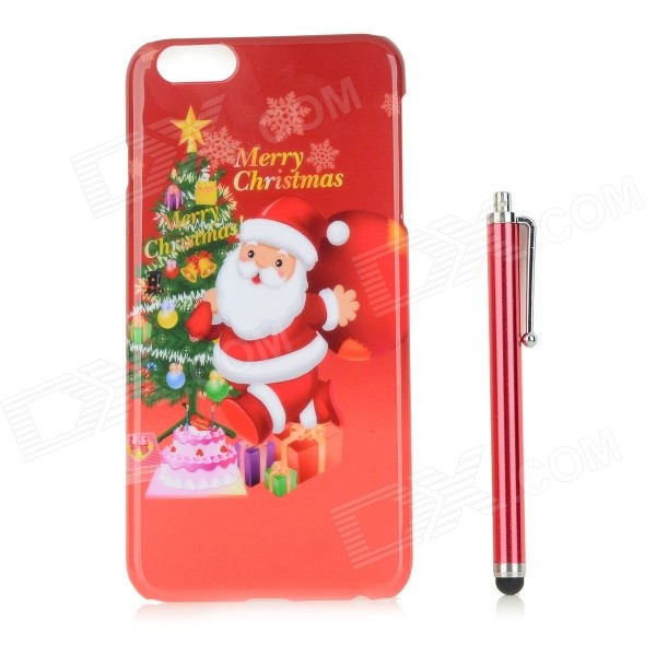 Santa Claus / Christmas Tree Patterned PC Back Case Cover w/ Stylus Pen for IPHONE 6 PLUS - Red