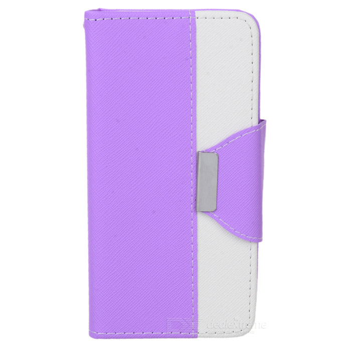 Cross Patterned Protective Flip-Open PU Case w/ Stand / Card Slot for IPHONE 6 - White + Purple protective flip open pu case cover w card slot stand strap for iphone 6 plus white black
