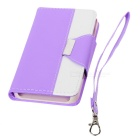 Cross Patterned Protective Flip-Open PU Case w/ Stand / Card Slot for IPHONE 6 - White + Purple