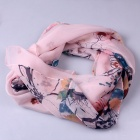 Women's Chinese Ink Painting Pattern Chiffon Scarf  - Pink + Red + Multicolored