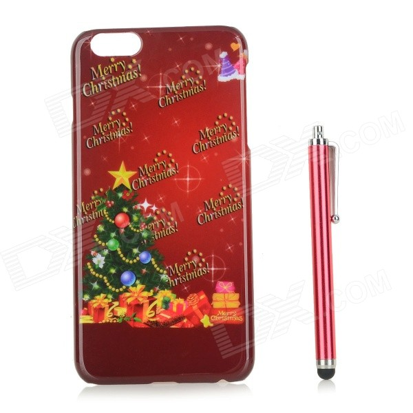 Christmas Tree / Gift Patterned PC Back Case Cover w/ Stylus Pen for IPHONE 6 PLUS - Red leiers patterned clear tpu phone cover for iphone 6s plus 6 plus pretty flowers