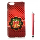 Christmas Bells Patterned PC zurück Fall Deckung w / Stylus Pen für iPhone 6 PLUS - Red