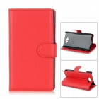 Flip-Open PU Leather + ABS Case w/ Stand / Card Slots for Motorola Droid Turbo XT1254 - Red