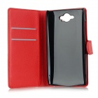 Flip-aberto PU Leather + ABS Caso w / Stand / cartão Slots para Motorola Droid Turbo XT1254 - Red