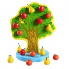 Christmas 3D Puzzle Educational Wooden Magnetic Apple Tree Toy for Kids - Red + Green + Multicolored