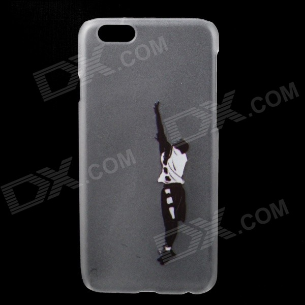 Shoot at the Basket Pose Pattern Back Case for IPHONE 6 4.7 - White + Black man scoot at the basket pattern protective pc back case for iphone 6 plus transparent black