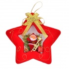 Santa Claus Five-Pointed Star Pendant Decorator for Christmas Tree - Red