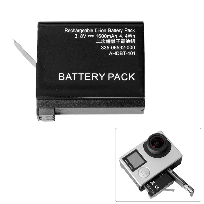 Fat Cat AHDBT-401 High Capacity Replacement 1500mAh Li-ionBattery for GoPro Hero 4 - Black