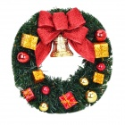 Stylish Christmas Decorator Wreath Garland - Green + Golden + Red (30cm)