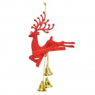 Christmas 3-Bells Reindeer Pendant Decoration for Christmas Tree - Red + Golden