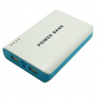 Portable Universal Dual USB 5V 6000mAh Li-ion Battery Power Bank w/ Flashlight - White + Blue