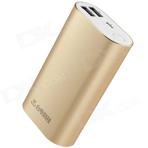 Teclast Genuine 5V 10000mAh Dual USB Li-ion Battery Power Bank w/ LED Indicator - Golden teclast t100j r 5v 10000mah dual usb li ion power bank w led indicator blueish green