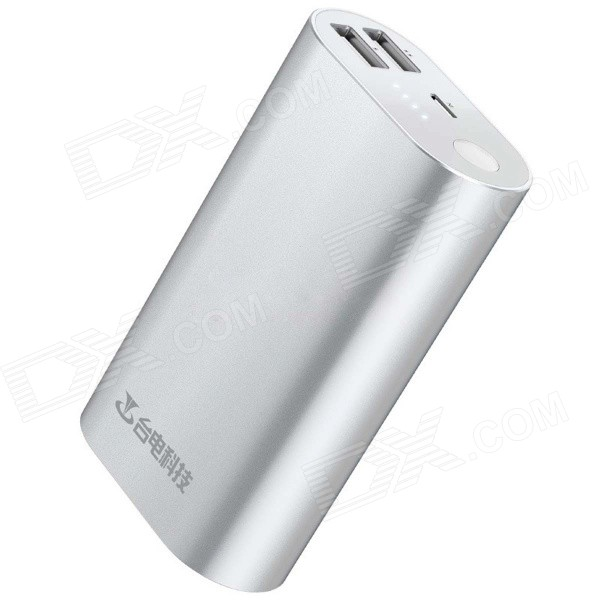 Teclast Genuine 5V 10000mAh Dual USB Li-ion Battery Power Bank w/ LED Indicator - Silver teclast t100j r 5v 10000mah dual usb li ion power bank w led indicator blueish green