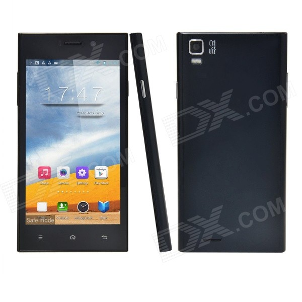 Q55 Android 4.4.2 Quad-core WCDMA Phone w/ 4.7 IPS, 4GB ROM, WiFi, GPS, NFC - Black