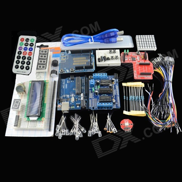 UNO R3 + L293D Motor Drive + Wireless Data Transmission Module - Multicolored