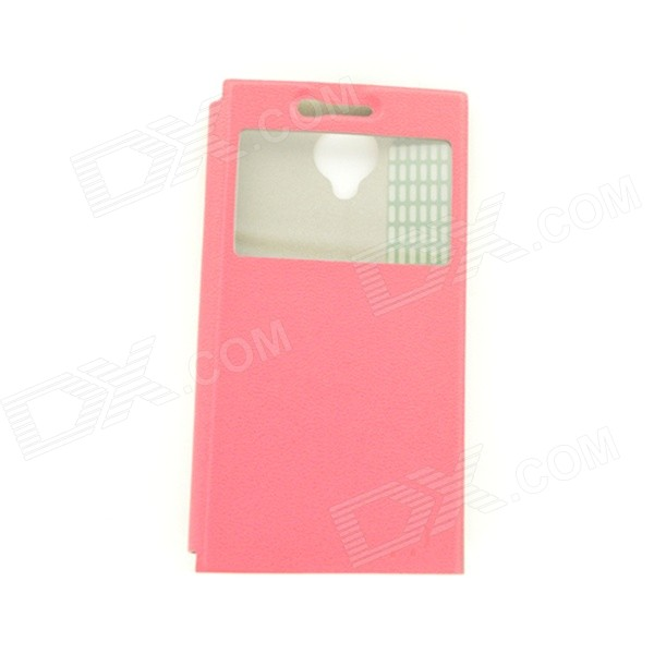 Stylish Protective Flip-Open PU Case w/ View Window for THL T6S - Deep Pink