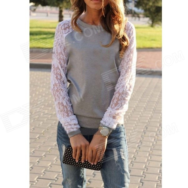 Women's Casual Round Neck Lace Sleeves Patchwork Blouse Sweatshirt - Gray (Size M)