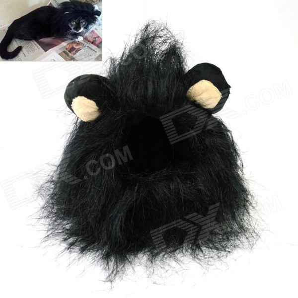 Lion Cosplay Collar Scarf Wig for Pet Cat - Black (Size M) a cat that doesn t like its home