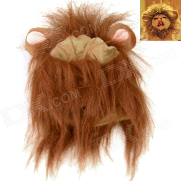 Lion Cosplay Collar Scarf Wig for Pet Cat - Dark Brown (Size M) a cat that doesn t like its home