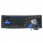 HK3800 Ultrathin 2.4GHz Wireless 112-Key Keyboard + 1600DPI Mouse Set - Black + Blue (4 x AAA)