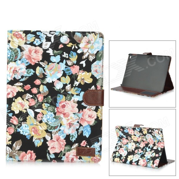 Stylish Flowers Pattern PU Leather Smart Case w/ Stand / Card Slots for IPAD AIR 2 - Black + Blue