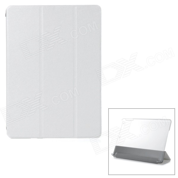 P002 Protective PU Flip Open Case w/ Auto Sleep for IPAD AIR - White