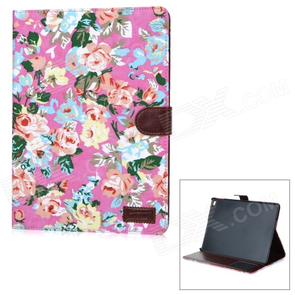 Flowers Pattern Fashion PU Leather Smart Case w/ Card Slots / Stand for IPAD AIR 2 - Pink solid color litchi pattern wallet style front buckle flip pu leather case with card slots for doogee x10