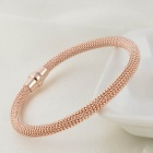 SB0160 Stylish 316L Stainless Steel Twisted Chain Bangle Bracelet - Rose Gold